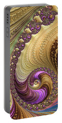 Portable Battery Charger featuring the digital art Luxe Colorful Fractal Spiral by Matthias Hauser