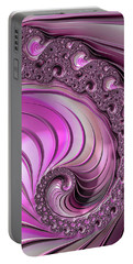 Portable Battery Charger featuring the digital art Luxe Pink Fractal Spiral by Matthias Hauser