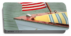 Vintage Mahogany Lyman Runabout Boat With Navy Flag Portable Battery Charger