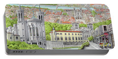 Portable Battery Charger featuring the painting Lyon France by Albert Puskaric