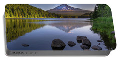 M T Hood Sunrise At Lake Trillium Portable Battery Charger