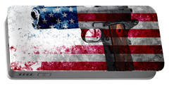 M1911 Colt 45 And American Flag On Distressed Metal Sheet Portable Battery Charger