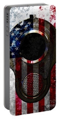 M1911 Colt 45 Muzzle And American Flag On Distressed Metal Sheet Portable Battery Charger