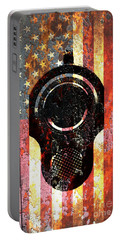 M1911 Colt 45 On Rusted American Flag Portable Battery Charger