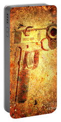 M1911 Muzzle On Rusted Background 3/4 View Portable Battery Charger