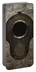 M1911 Muzzle On Rusted Riveted Metal Dark Portable Battery Charger