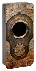 M1911 Muzzle On Rusted Riveted Metal Portable Battery Charger