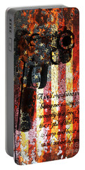 M1911 Pistol And Second Amendment On Rusted American Flag Portable Battery Charger