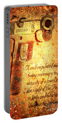 M1911 Pistol And Second Amendment On Rusted Overlay Portable Battery Charger