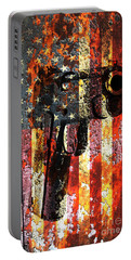 M1911 Silhouette On Rusted American Flag Portable Battery Charger