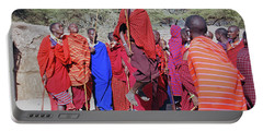 Portable Battery Charger featuring the photograph Maasai Adumu Dance Take Three by Harvey Barrison