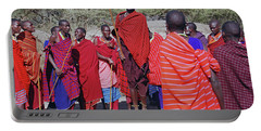 Portable Battery Charger featuring the photograph Maasai Adumu Dance Take Two by Harvey Barrison