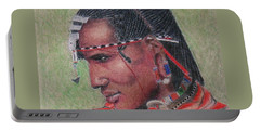 Maasai Warrior II -- Portrait Of African Tribal Man Portable Battery Charger