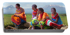 Portable Battery Charger featuring the painting Maasai Women by Anthony Mwangi