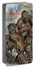 Portable Battery Charger featuring the digital art Macaques For Responsible Travel by Nola Lee Kelsey