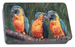 Portable Battery Charger featuring the painting Macaws by David Stribbling