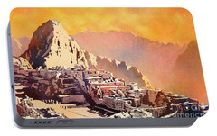 Portable Battery Charger featuring the painting Machu Picchu Sunset by Ryan Fox