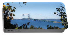 Mackinac Bridge In Early Fall Portable Battery Charger