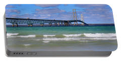 Mackinac Bridge Portable Battery Charger by Michael Rucker