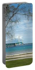 Portable Battery Charger featuring the photograph Mackinac Bridge Park by LeeAnn McLaneGoetz McLaneGoetzStudioLLCcom