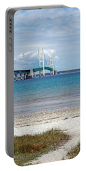 Portable Battery Charger featuring the photograph Mackinac Bridge Path To Lake by LeeAnn McLaneGoetz McLaneGoetzStudioLLCcom