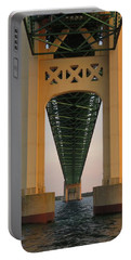 Mackinac Bridge Tower At Sunset Portable Battery Charger