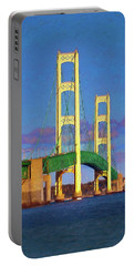 Portable Battery Charger featuring the photograph Mackinac Bridge by Trey Foerster