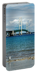 Portable Battery Charger featuring the photograph Mackinac Bridge With Seagull by LeeAnn McLaneGoetz McLaneGoetzStudioLLCcom