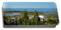 Portable Battery Charger featuring the photograph Mackinac Island View Of Bridge by LeeAnn McLaneGoetz McLaneGoetzStudioLLCcom