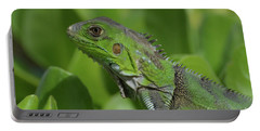 Macro Of A Green Iguana Portable Battery Charger by DejaVu Designs