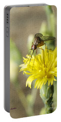 Macro Photography Of A Mosquito Over A Lettuce Flower Portable Battery Charger by Claudia Ellis