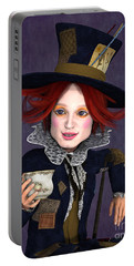 Mad Hatter Portrait Portable Battery Charger by Methune Hively