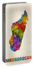 Portable Battery Charger featuring the digital art Madagascar Watercolor Map by Michael Tompsett