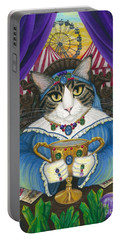 Portable Battery Charger featuring the painting Madame Zoe Teller Of Fortunes - Queen Of Cups by Carrie Hawks