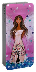 Portable Battery Charger featuring the painting Pink Angel Of Life by Pristine Cartera Turkus