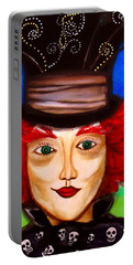 Portable Battery Charger featuring the painting Madhatter by Pristine Cartera Turkus
