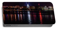 Madison Skyline At Night Portable Battery Charger by Randy Scherkenbach
