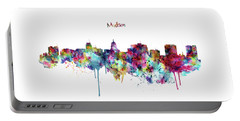 Portable Battery Charger featuring the mixed media Madison Skyline Silhouette by Marian Voicu
