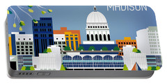 Madison Wisconsin Horizontal Skyline Portable Battery Charger by Karen Young