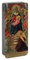 Madonna And Child Enthroned With Angels And Saints Portable Battery Charger