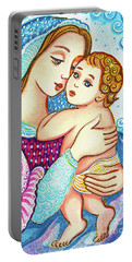 Portable Battery Charger featuring the painting Madonna And Child In Blue by Eva Campbell