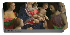 Madonna And Child With Saint John The Baptist Two Saints And Donors Portable Battery Charger