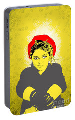 Portable Battery Charger featuring the drawing Madonna On Yellow by Jason Tricktop Matthews