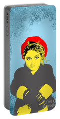 Madonna On Blue Portable Battery Charger