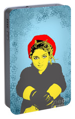 Portable Battery Charger featuring the drawing Madonna On Blue by Jason Tricktop Matthews
