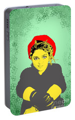 Portable Battery Charger featuring the drawing Madonna On Green by Jason Tricktop Matthews