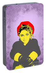 Portable Battery Charger featuring the drawing Madonna On Purple by Jason Tricktop Matthews