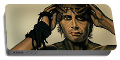 Mads Mikkelsen Painting Portable Battery Charger by Paul Meijering