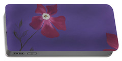 Magenta Flower On Plum Background Portable Battery Charger