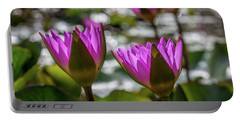 Magenta Water Lilies Portable Battery Charger